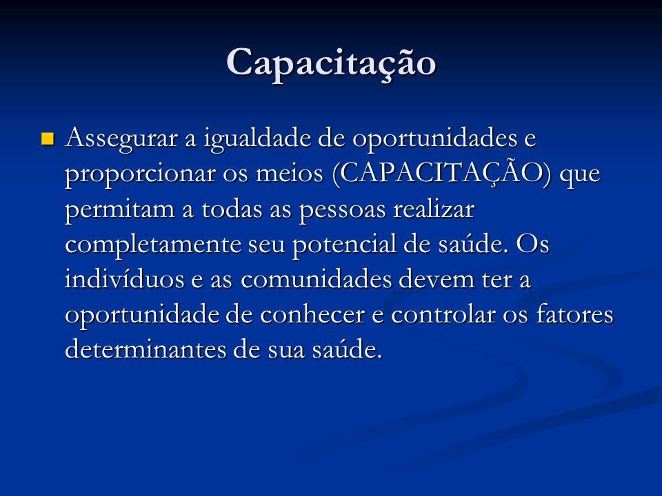 Capacitação Assegurar a igualdade de oportunidades e proporcionar os meios (CAPACITAÇÃO) que permitam a todas as pessoas realizar completamente seu potencial de saúde.