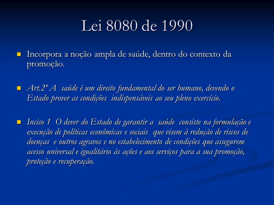 Lei 8080 de 1990 Incorpora a noção ampla de saúde, dentro do contexto da promoção.