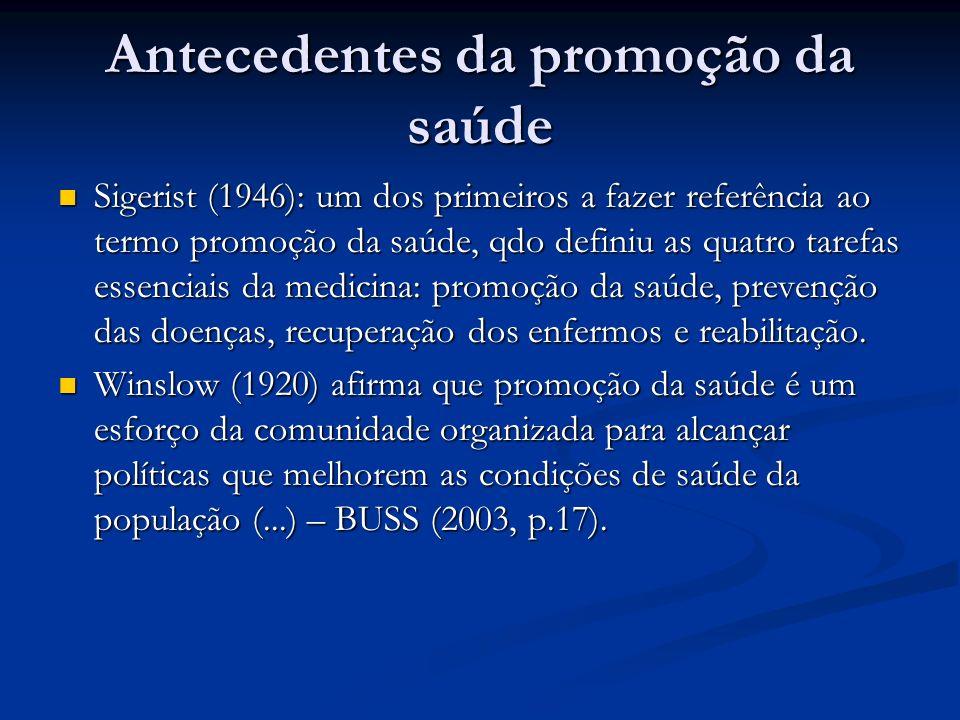 Antecedentes da promoção da saúde Sigerist (1946): um dos primeiros a fazer referência ao termo promoção da saúde, qdo definiu as quatro tarefas essenciais da medicina: promoção da saúde, prevenção das doenças, recuperação dos enfermos e reabilitação.