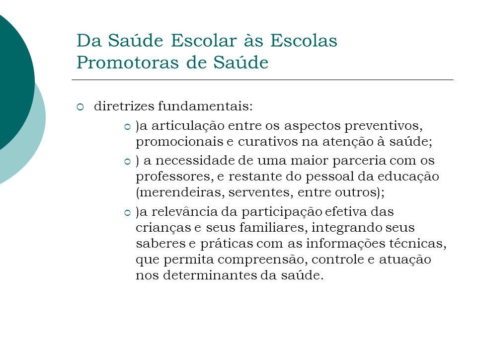 Da Saúde Escolar às Escolas Promotoras de Saúde diretrizes fundamentais: )a articulação entre os aspectos preventivos, promocionais e curativos na ate
