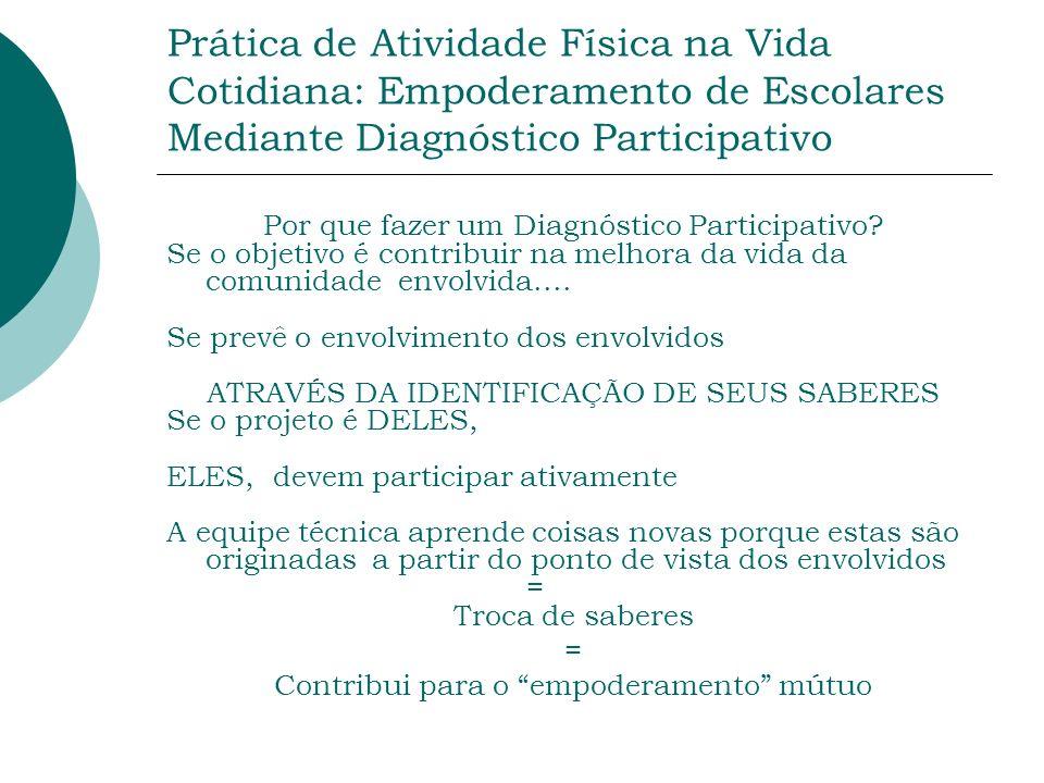 Prática de Atividade Física na Vida Cotidiana: Empoderamento de Escolares Mediante Diagnóstico Participativo Por que fazer um Diagnóstico Participativ