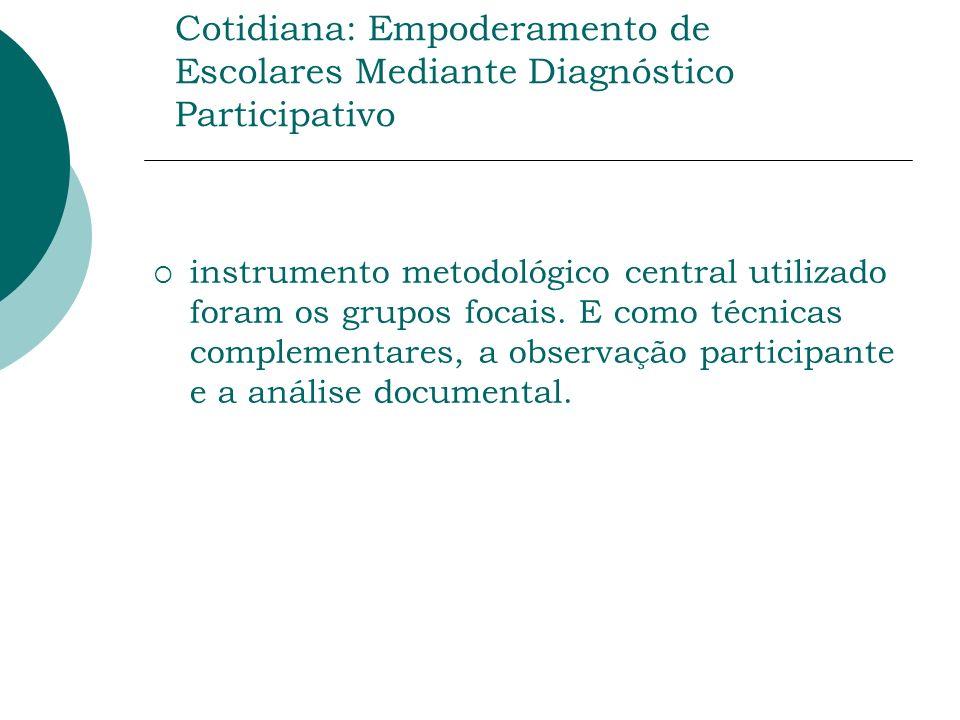 Prática de Atividade Física na Vida Cotidiana: Empoderamento de Escolares Mediante Diagnóstico Participativo instrumento metodológico central utilizado foram os grupos focais.