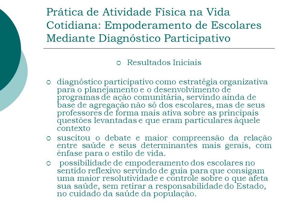 Prática de Atividade Física na Vida Cotidiana: Empoderamento de Escolares Mediante Diagnóstico Participativo Resultados Iniciais diagnóstico participa