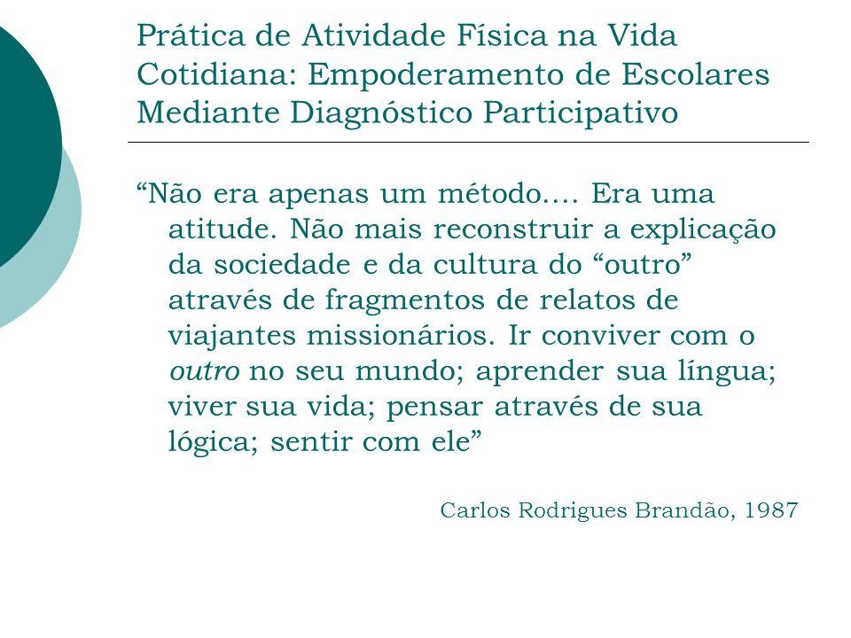 Prática de Atividade Física na Vida Cotidiana: Empoderamento de Escolares Mediante Diagnóstico Participativo Não era apenas um método....