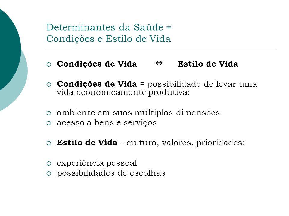 Determinantes da Saúde = Condições e Estilo de Vida Condições de Vida Estilo de Vida Condições de Vida = possibilidade de levar uma vida economicament