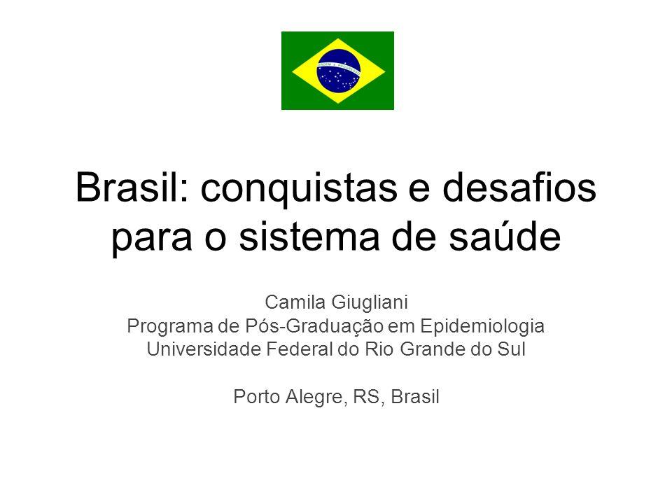 Brasil: conquistas e desafios para o sistema de saúde Camila Giugliani Programa de Pós-Graduação em Epidemiologia Universidade Federal do Rio Grande do Sul Porto Alegre, RS, Brasil