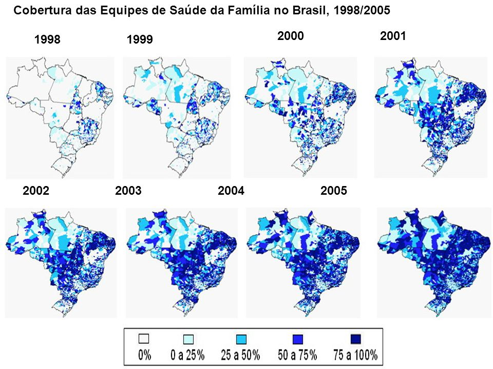 1998 1999 2000 2001 2002 2003 2004 2005 Cobertura das Equipes de Saúde da Família no Brasil, 1998/2005