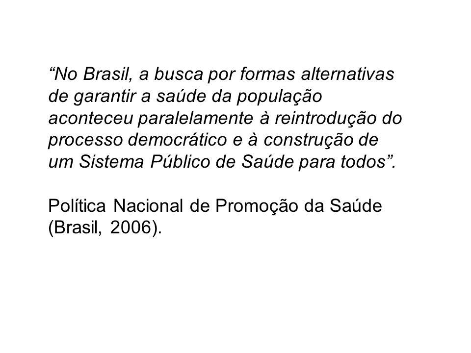 No Brasil, a busca por formas alternativas de garantir a saúde da população aconteceu paralelamente à reintrodução do processo democrático e à construção de um Sistema Público de Saúde para todos.