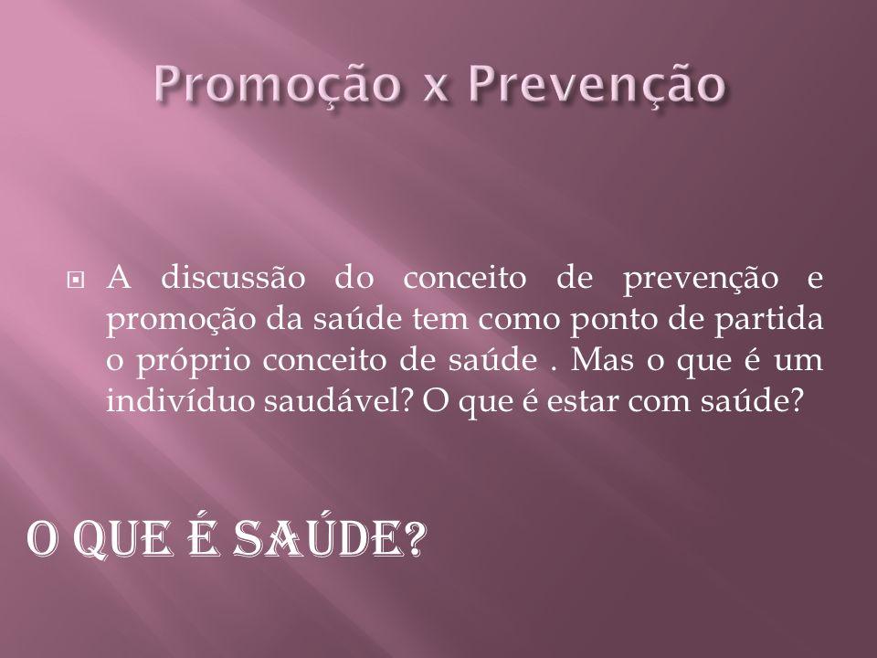 A discussão do conceito de prevenção e promoção da saúde tem como ponto de partida o próprio conceito de saúde.