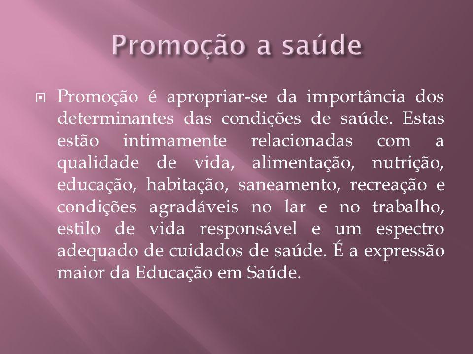Promoção é apropriar-se da importância dos determinantes das condições de saúde.