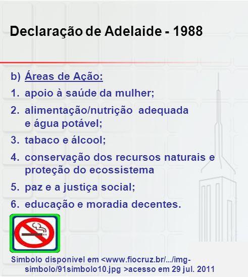 Declaração de Adelaide - 1988 b)Áreas de Ação: 1.apoio à saúde da mulher; 2.alimentação/nutrição adequada e água potável; 3.tabaco e álcool; 4.conserv