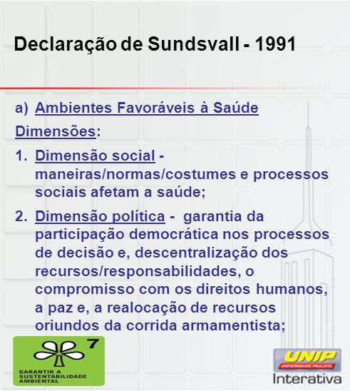 Declaração de Sundsvall - 1991 a)Ambientes Favoráveis à Saúde Dimensões: 1.Dimensão social - maneiras/normas/costumes e processos sociais afetam a saú