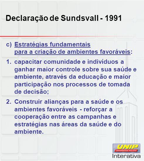 Declaração de Sundsvall - 1991 c)Estratégias fundamentais para a criação de ambientes favoráveis: 1.capacitar comunidade e indivíduos a ganhar maior c