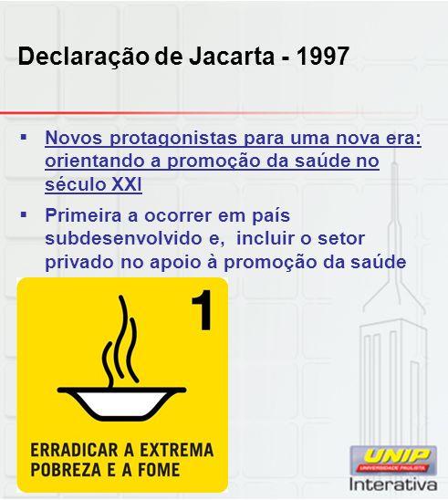 Declaração de Jacarta - 1997 Novos protagonistas para uma nova era: orientando a promoção da saúde no século XXI Primeira a ocorrer em país subdesenvo