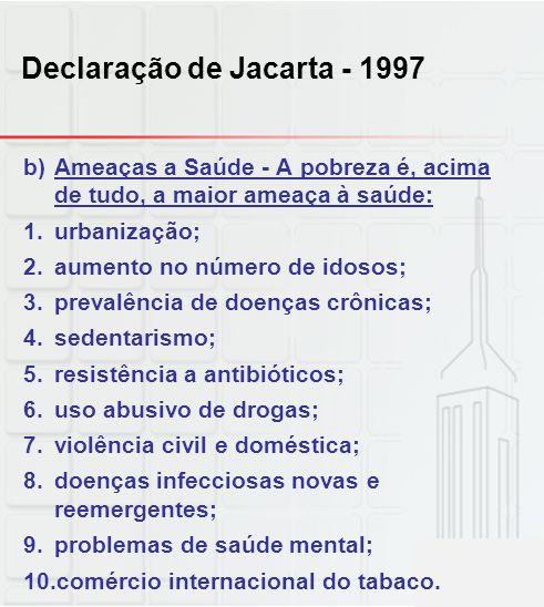 Declaração de Jacarta - 1997 b)Ameaças a Saúde - A pobreza é, acima de tudo, a maior ameaça à saúde: 1.urbanização; 2.aumento no número de idosos; 3.p