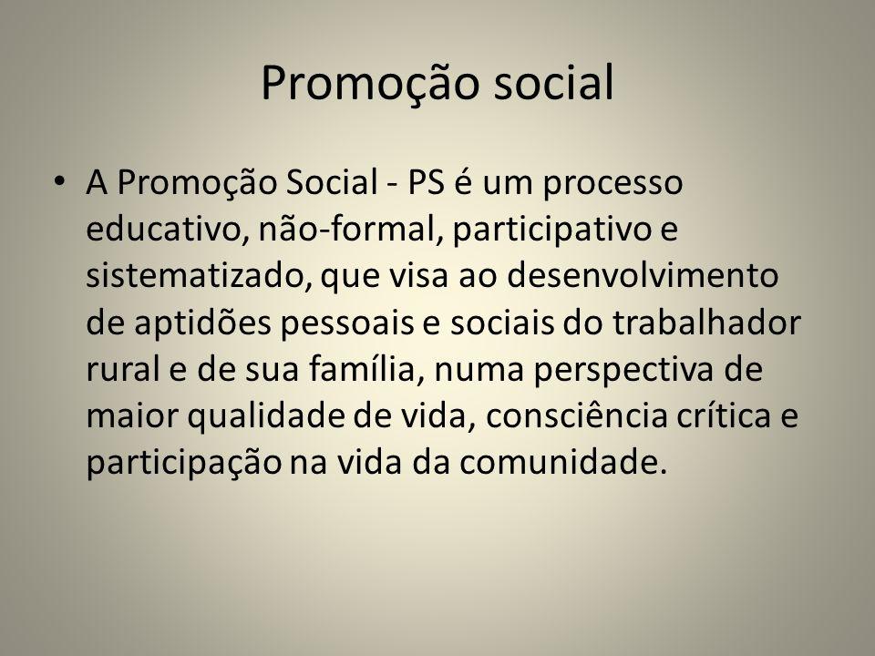 Promoção social A Promoção Social - PS é um processo educativo, não-formal, participativo e sistematizado, que visa ao desenvolvimento de aptidões pessoais e sociais do trabalhador rural e de sua família, numa perspectiva de maior qualidade de vida, consciência crítica e participação na vida da comunidade.