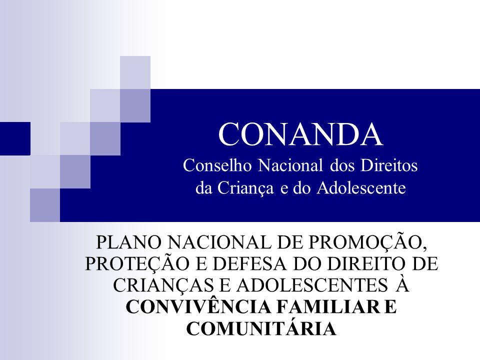 CONANDA Conselho Nacional dos Direitos da Criança e do Adolescente PLANO NACIONAL DE PROMOÇÃO, PROTEÇÃO E DEFESA DO DIREITO DE CRIANÇAS E ADOLESCENTES