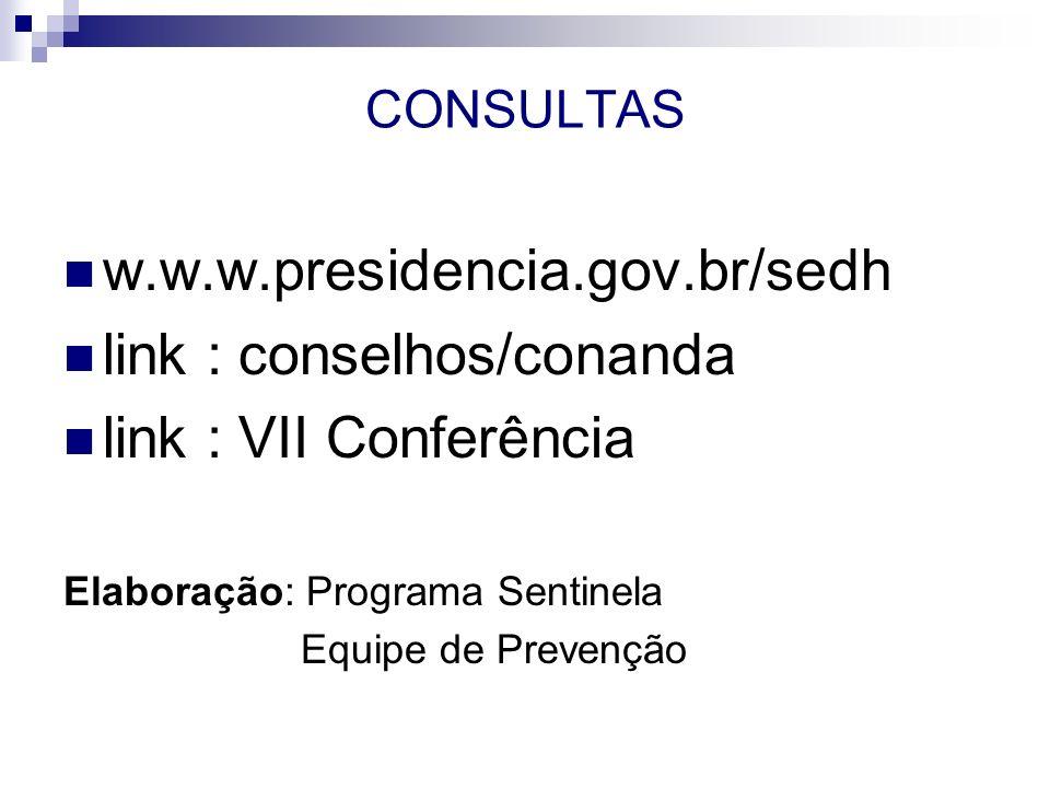 CONSULTAS w.w.w.presidencia.gov.br/sedh link : conselhos/conanda link : VII Conferência Elaboração: Programa Sentinela Equipe de Prevenção