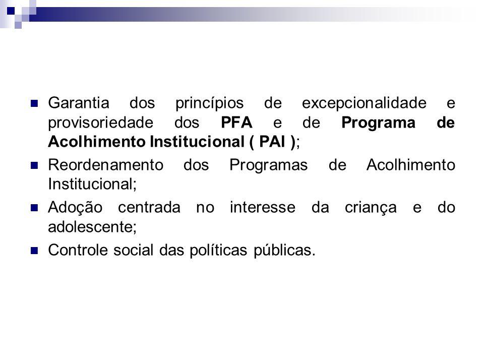 Garantia dos princípios de excepcionalidade e provisoriedade dos PFA e de Programa de Acolhimento Institucional ( PAI ); Reordenamento dos Programas d