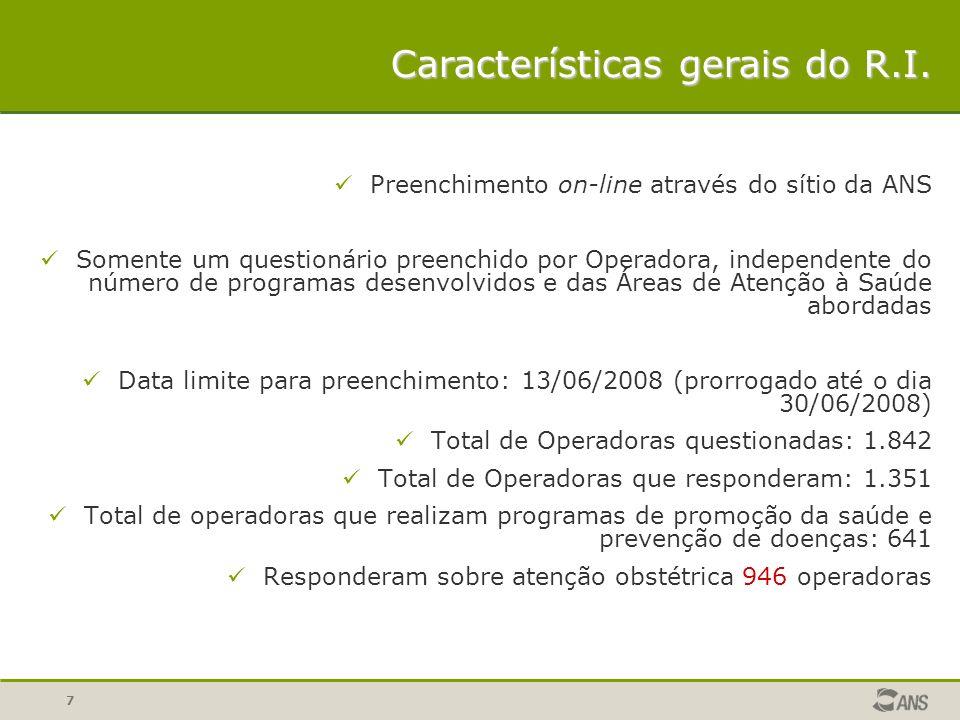 8 Destaca-se que de acordo com dados de março de 2008 do Sistema de Informações de Beneficiários da ANS, as operadoras que responderam o questionário concentram 96,5% dos beneficiários do setor de saúde suplementar.