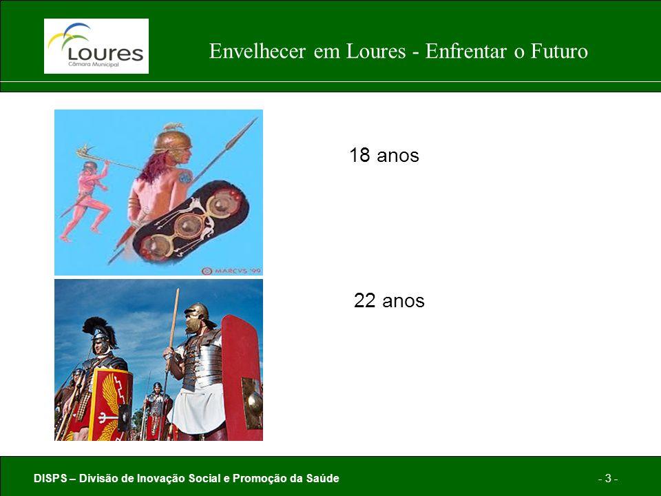 DISPS – Divisão de Inovação Social e Promoção da Saúde- 3 - Envelhecer em Loures - Enfrentar o Futuro 18 anos 22 anos