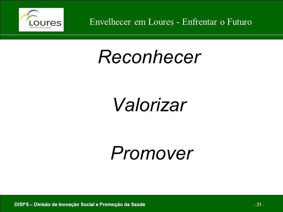 DISPS – Divisão de Inovação Social e Promoção da Saúde- 31 - Envelhecer em Loures - Enfrentar o Futuro Reconhecer Valorizar Promover