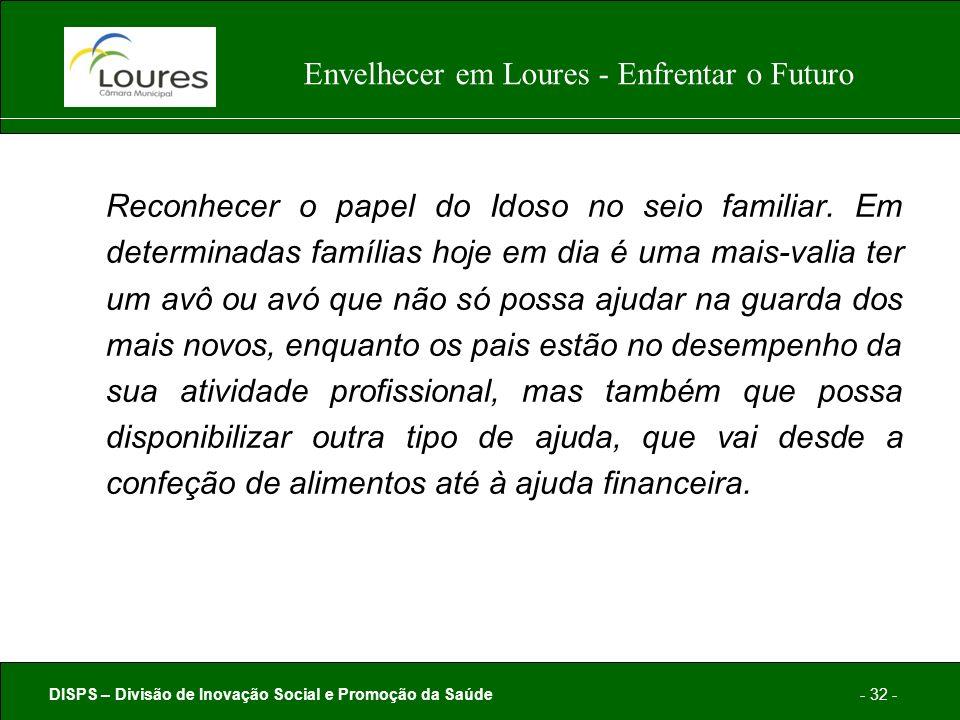 DISPS – Divisão de Inovação Social e Promoção da Saúde- 32 - Envelhecer em Loures - Enfrentar o Futuro Reconhecer o papel do Idoso no seio familiar.