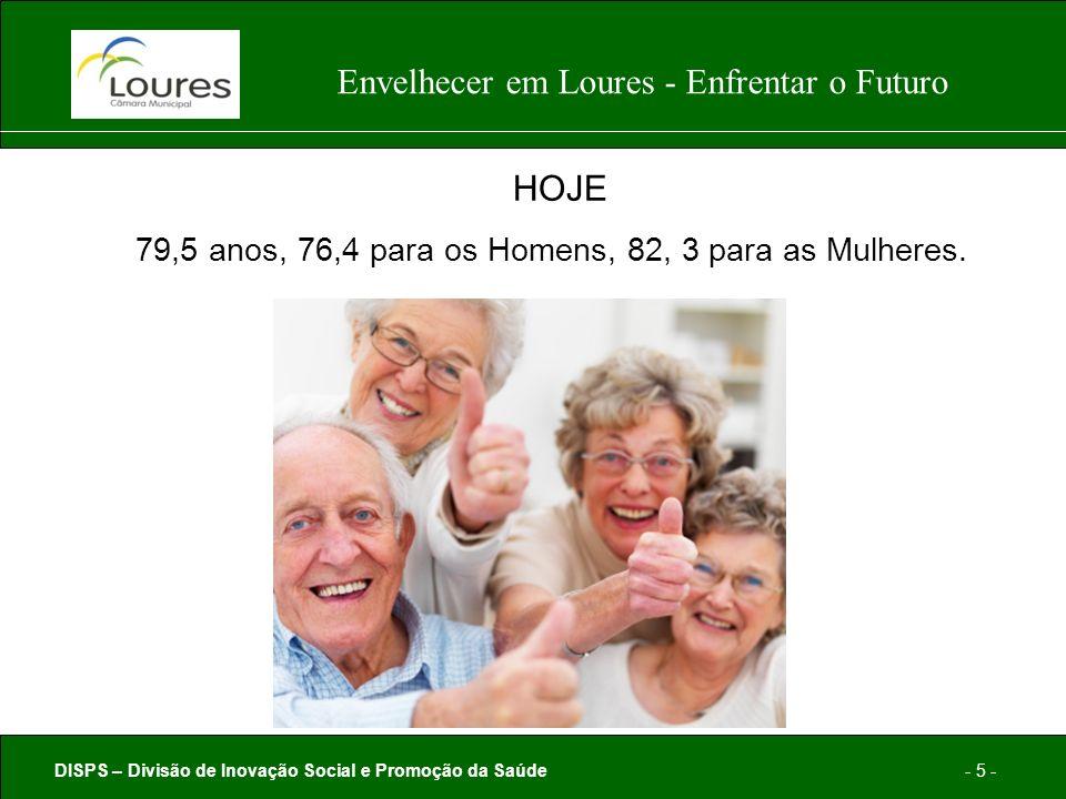 DISPS – Divisão de Inovação Social e Promoção da Saúde- 5 - Envelhecer em Loures - Enfrentar o Futuro HOJE 79,5 anos, 76,4 para os Homens, 82, 3 para as Mulheres.