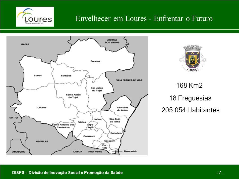 DISPS – Divisão de Inovação Social e Promoção da Saúde- 7 - Envelhecer em Loures - Enfrentar o Futuro 168 Km2 18 Freguesias 205.054 Habitantes