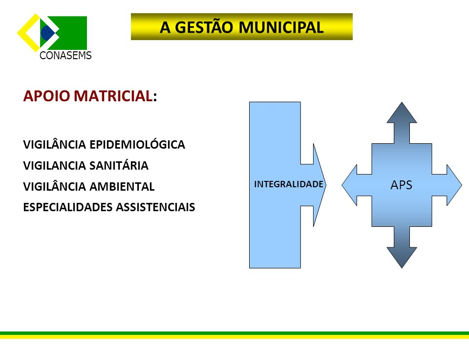 CONASEMS APOIO MATRICIAL: VIGILÂNCIA EPIDEMIOLÓGICA VIGILANCIA SANITÁRIA VIGILÂNCIA AMBIENTAL ESPECIALIDADES ASSISTENCIAIS APS INTEGRALIDADE A GESTÃO