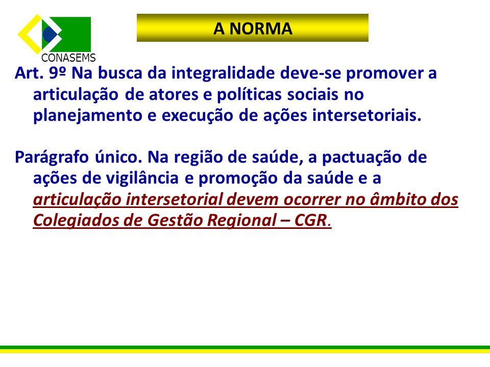 A NORMA Art. 9º Na busca da integralidade deve-se promover a articulação de atores e políticas sociais no planejamento e execução de ações intersetori
