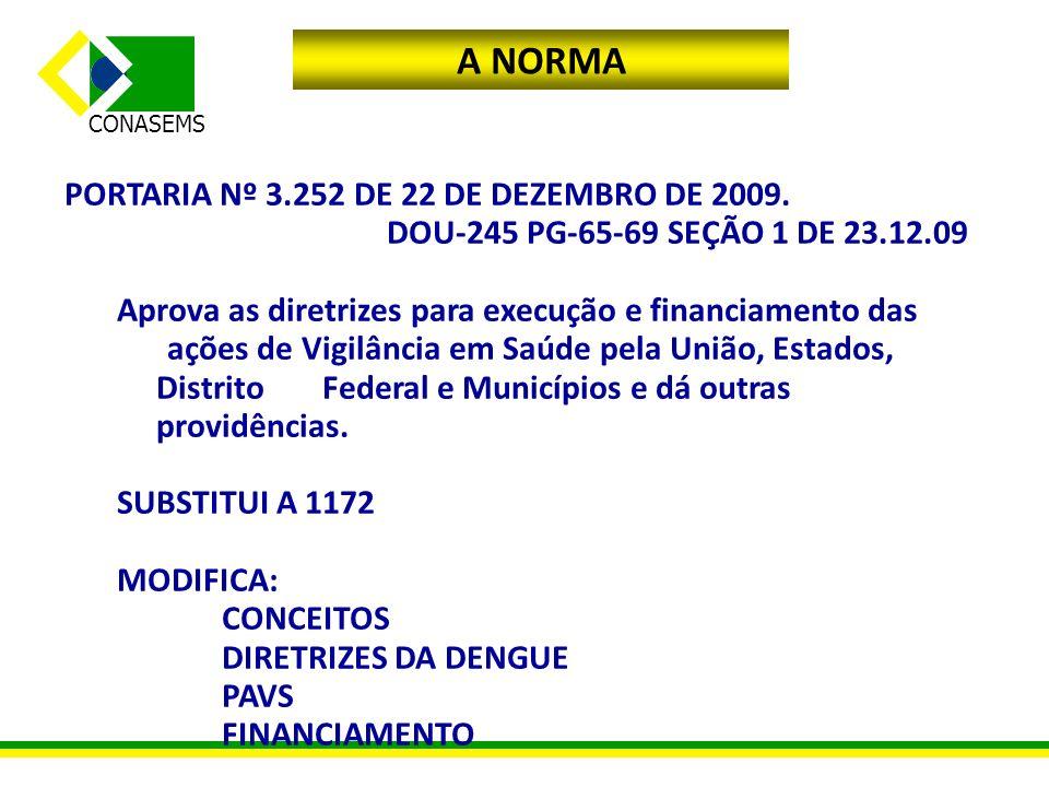 A NORMA PORTARIA Nº 3.252 DE 22 DE DEZEMBRO DE 2009. DOU-245 PG-65-69 SEÇÃO 1 DE 23.12.09 Aprova as diretrizes para execução e financiamento das ações