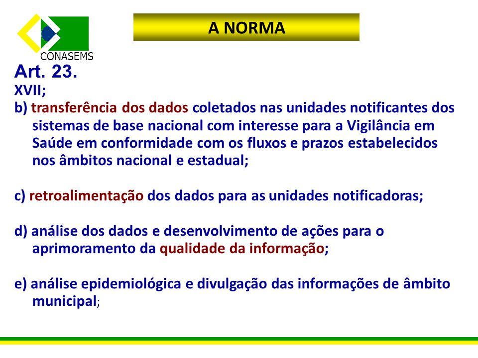 CONASEMS A NORMA Art. 23. XVII; b) transferência dos dados coletados nas unidades notificantes dos sistemas de base nacional com interesse para a Vigi