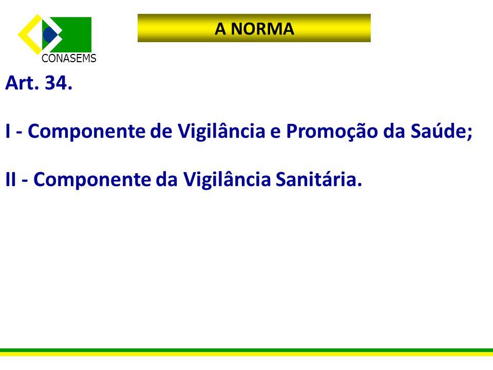 CONASEMS A NORMA Art. 34. I - Componente de Vigilância e Promoção da Saúde; II - Componente da Vigilância Sanitária.