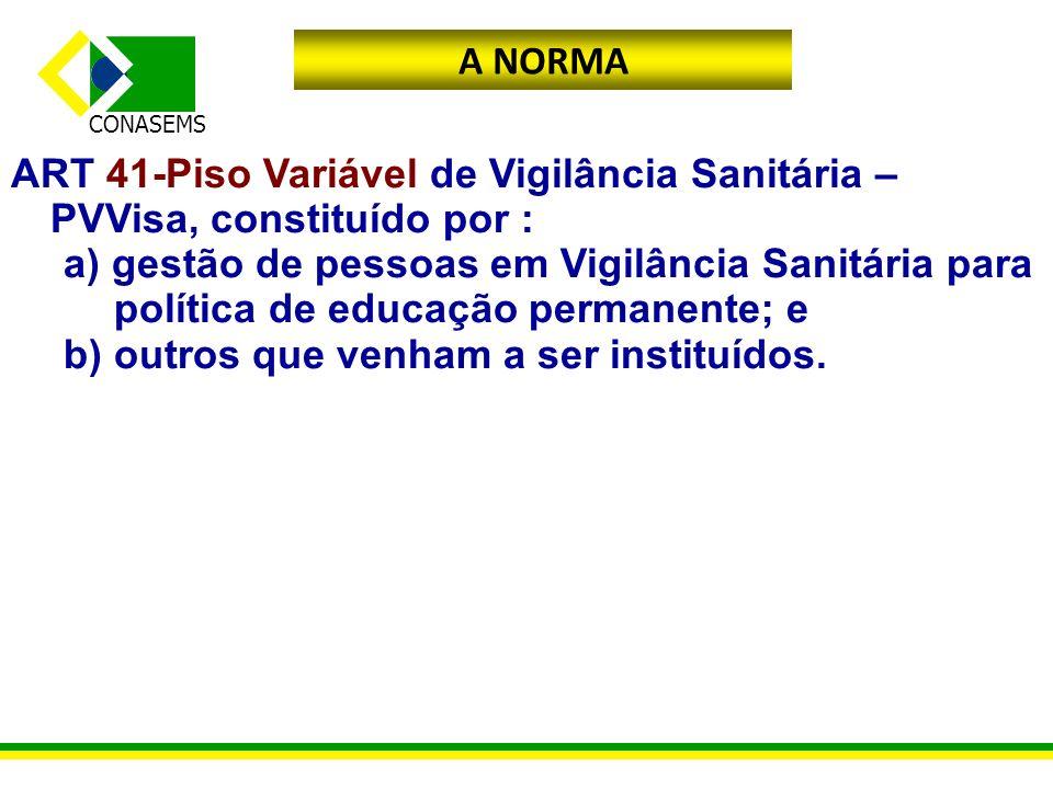 CONASEMS A NORMA ART 41-Piso Variável de Vigilância Sanitária – PVVisa, constituído por : a) gestão de pessoas em Vigilância Sanitária para política d