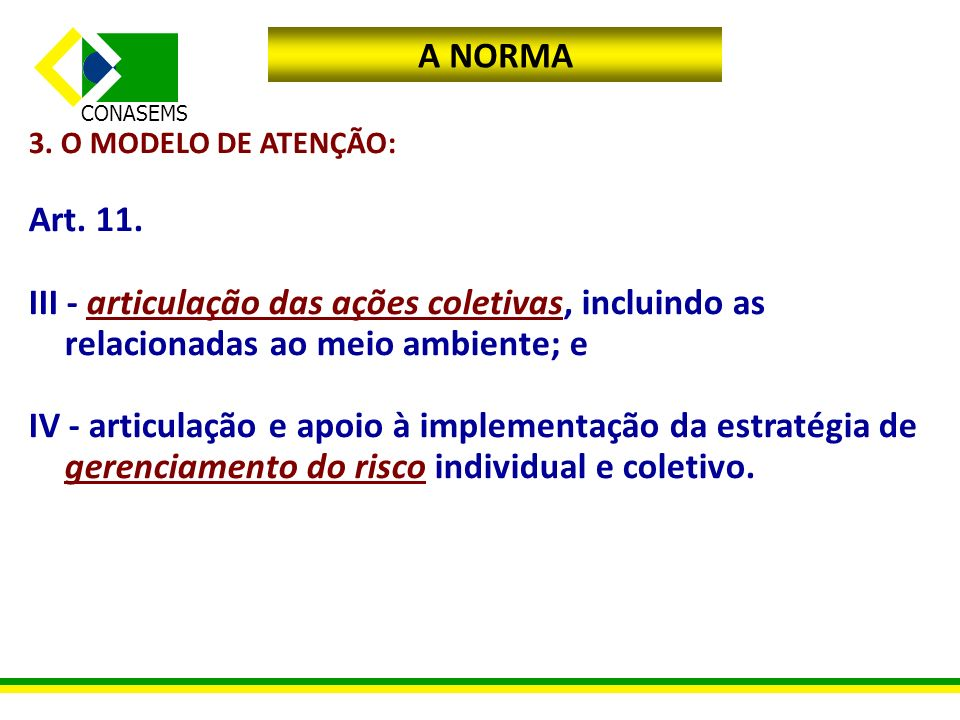 CONASEMS A NORMA 3. O MODELO DE ATENÇÃO: Art. 11. III - articulação das ações coletivas, incluindo as relacionadas ao meio ambiente; e IV - articulaçã