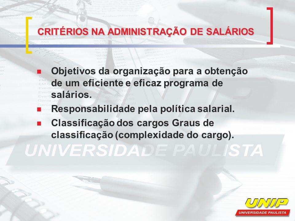 CRITÉRIOS NA ADMINISTRAÇÃO DE SALÁRIOS Objetivos da organização para a obtenção de um eficiente e eficaz programa de salários. Responsabilidade pela p