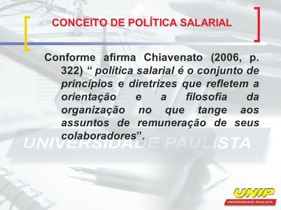 CONCEITO DE POLÍTICA SALARIAL CONCEITO DE POLÍTICA SALARIAL Conforme afirma Chiavenato (2006, p. 322) política salarial é o conjunto de princípios e d