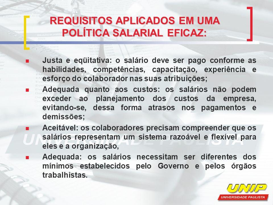 REQUISITOS APLICADOS EM UMA POLÍTICA SALARIAL EFICAZ: Justa e eqüitativa: o salário deve ser pago conforme as habilidades, competências, capacitação,