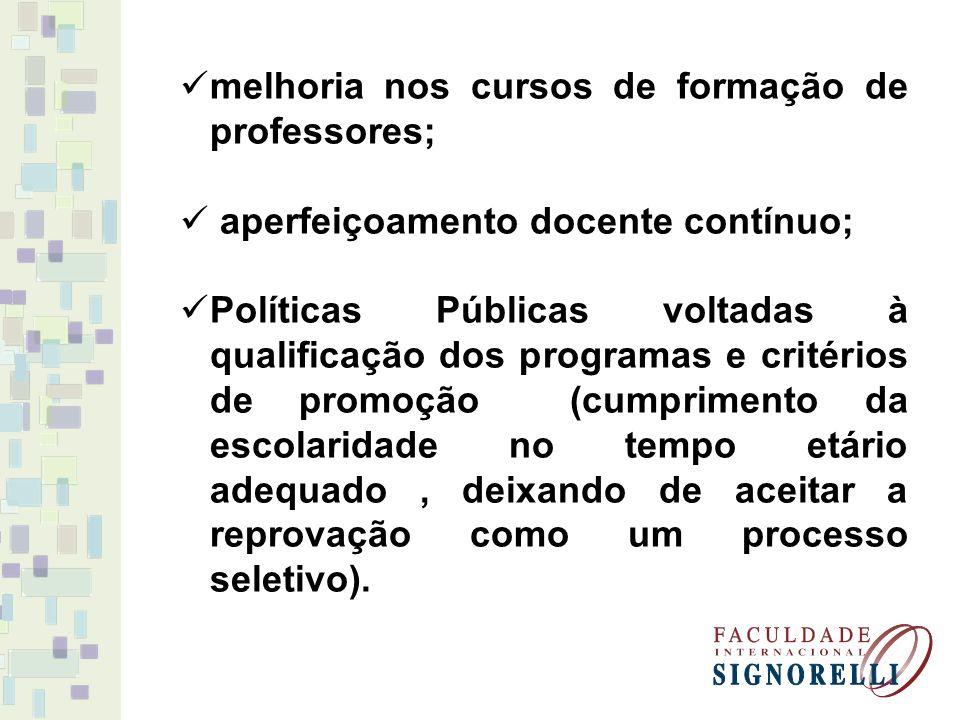 melhoria nos cursos de formação de professores; aperfeiçoamento docente contínuo; Políticas Públicas voltadas à qualificação dos programas e critérios