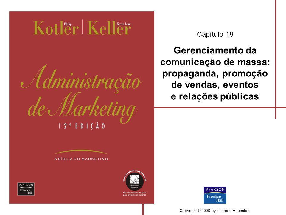 Capítulo 18 Gerenciamento da comunicação de massa: propaganda, promoção de vendas, eventos e relações públicas Copyright © 2006 by Pearson Education