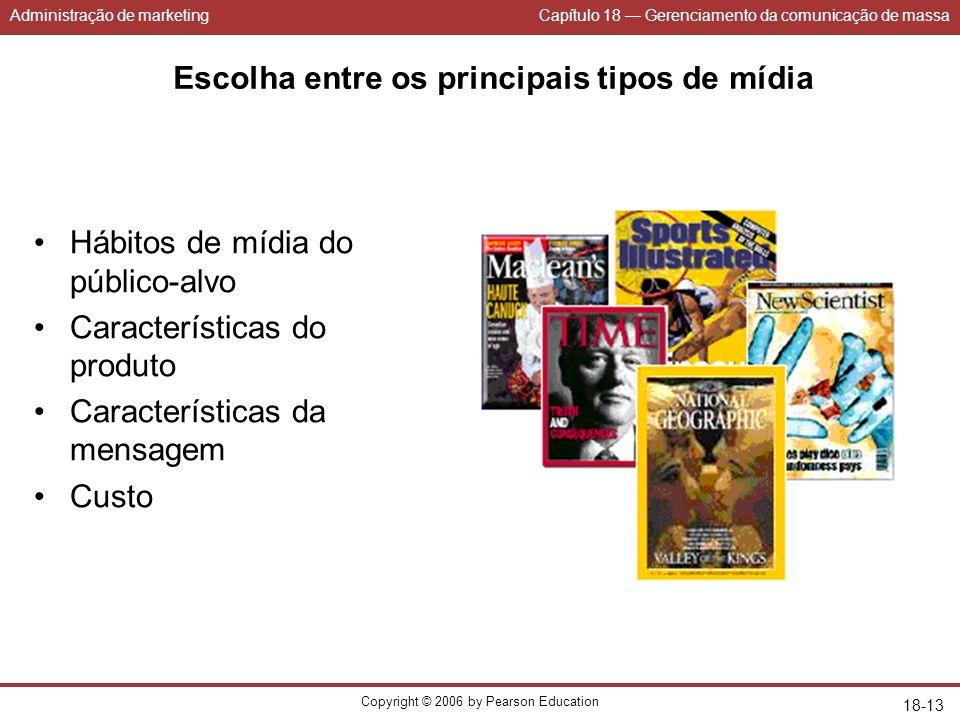 Administração de marketingCapítulo 18 Gerenciamento da comunicação de massa Copyright © 2006 by Pearson Education 18-13 Escolha entre os principais ti