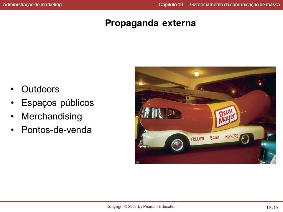 Administração de marketingCapítulo 18 Gerenciamento da comunicação de massa Copyright © 2006 by Pearson Education 18-15 Propaganda externa Outdoors Es