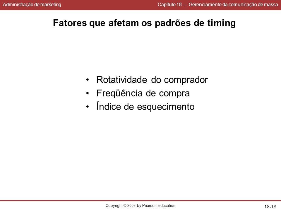 Administração de marketingCapítulo 18 Gerenciamento da comunicação de massa Copyright © 2006 by Pearson Education 18-18 Fatores que afetam os padrões