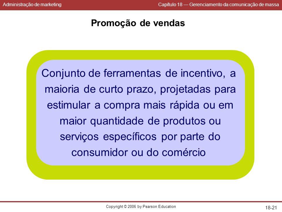 Administração de marketingCapítulo 18 Gerenciamento da comunicação de massa Copyright © 2006 by Pearson Education 18-21 Promoção de vendas Conjunto de