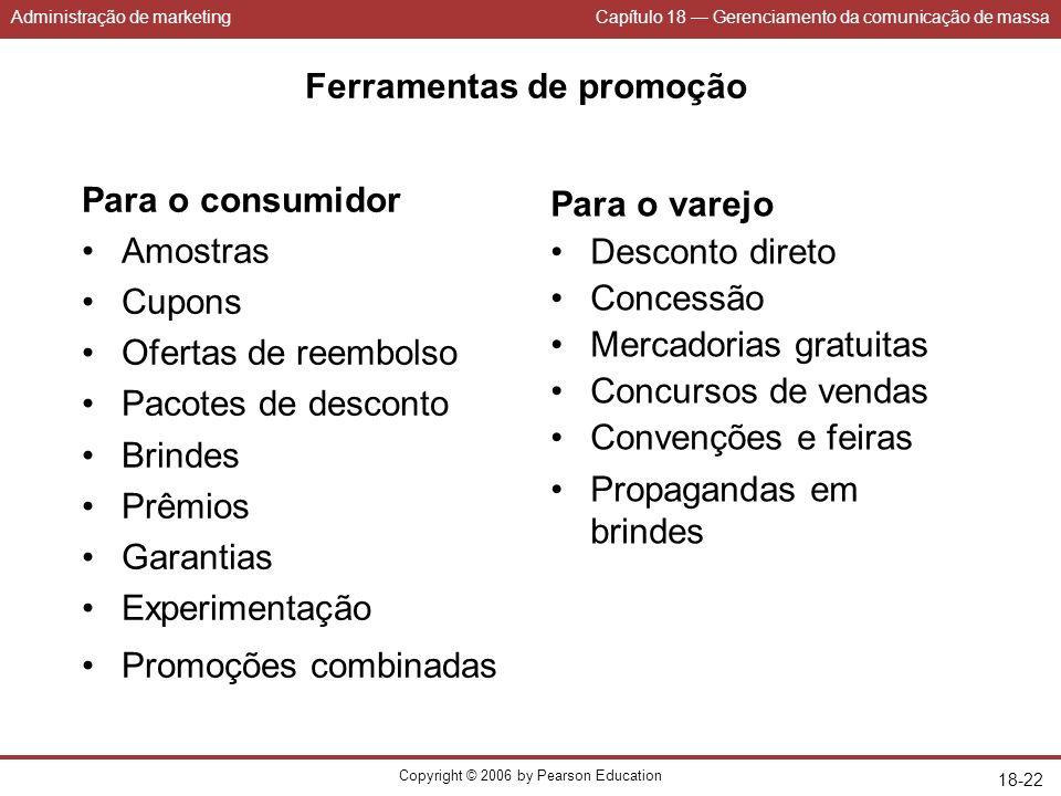 Administração de marketingCapítulo 18 Gerenciamento da comunicação de massa Copyright © 2006 by Pearson Education 18-22 Ferramentas de promoção Para o