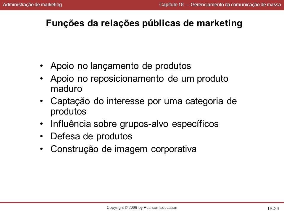 Administração de marketingCapítulo 18 Gerenciamento da comunicação de massa Copyright © 2006 by Pearson Education 18-29 Funções da relações públicas d