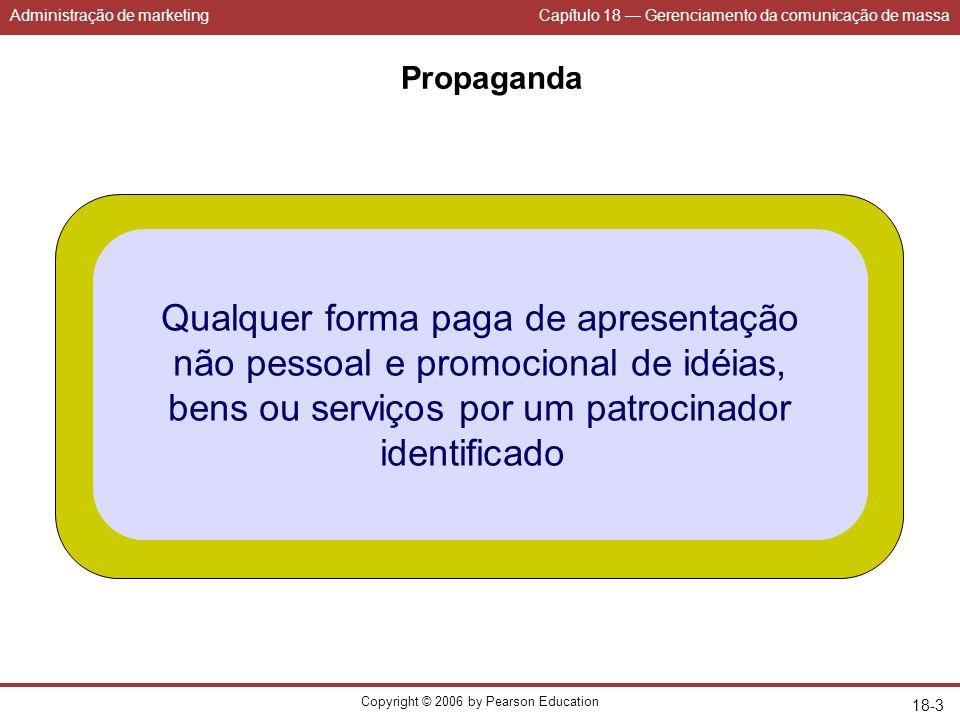 Administração de marketingCapítulo 18 Gerenciamento da comunicação de massa Copyright © 2006 by Pearson Education 18-3 Propaganda Qualquer forma paga