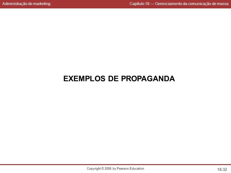 Administração de marketingCapítulo 18 Gerenciamento da comunicação de massa Copyright © 2006 by Pearson Education 18-32 EXEMPLOS DE PROPAGANDA