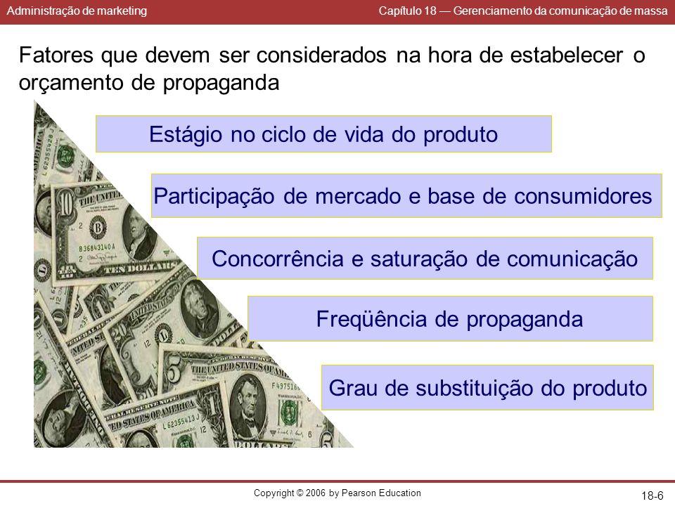 Administração de marketingCapítulo 18 Gerenciamento da comunicação de massa Copyright © 2006 by Pearson Education 18-6 Fatores que devem ser considera